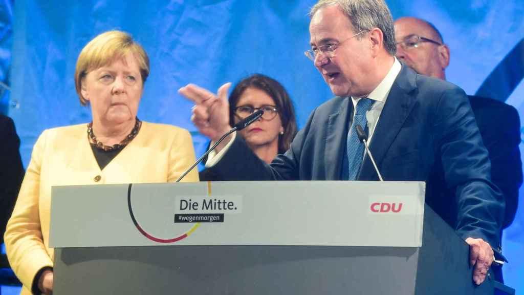 Angela Merkel y Armin Laschet, en campaña electoral