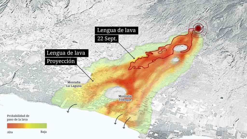 Proyección del camino que puede seguir la lava tras la erupción del volcán de Cumbre Vieja.