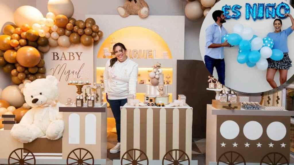 Vanesa Pinedo posa con sus creaciones en la 'baby shower' de Miguel Jr, hijo de Paula Echevarría y Miguel Torres.