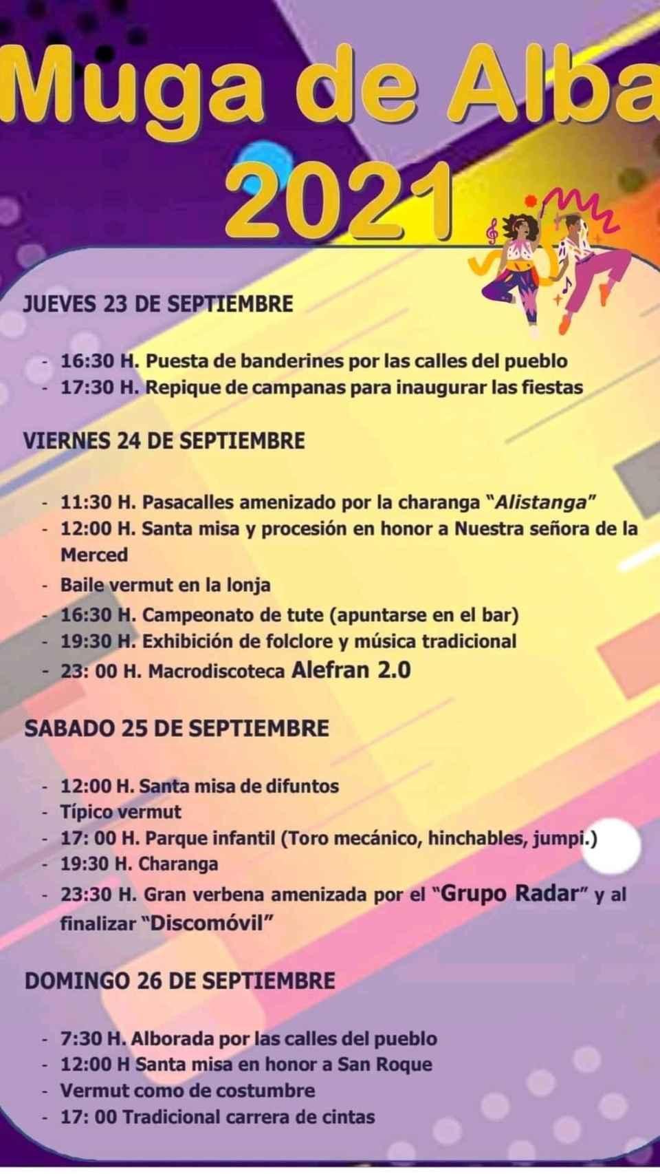 Programa de fiestas Muga de Alba