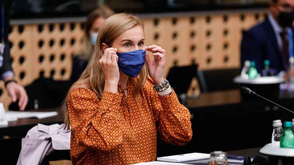 La comisaria de Energía, Kadri Simson, durante la reunión informal de Eslovenia