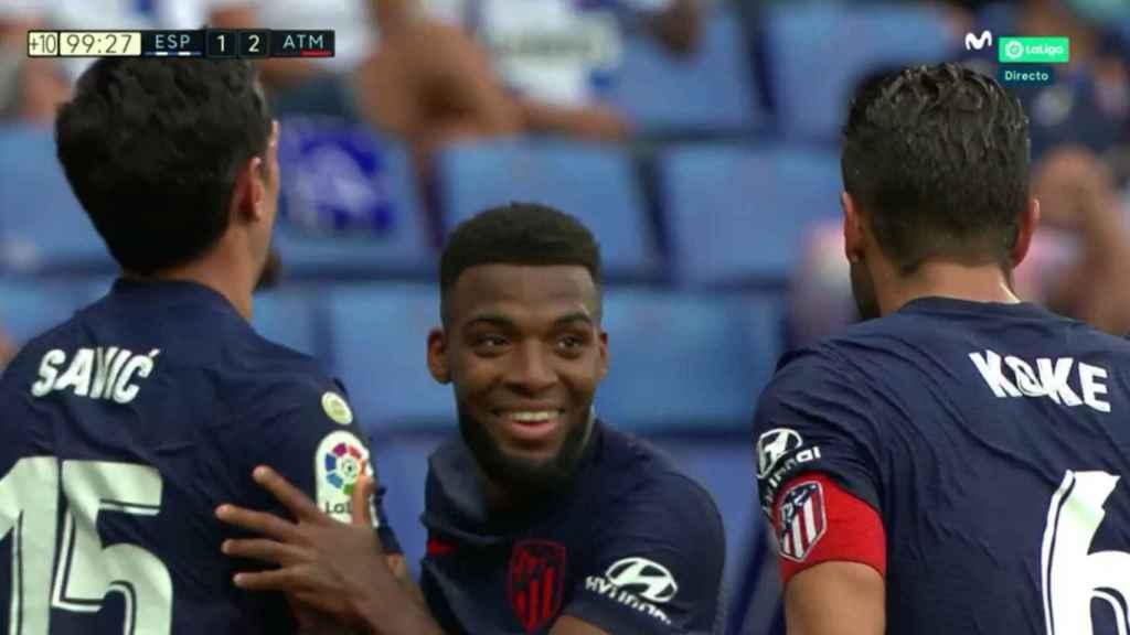 La celebración de Thomas Lemas durante la retransmisión del Espanyol - Atlético