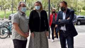 Isabel Blanco, Francisco Guarido y Francisco Requejo antes de la firma del convenio sobre los Fondos Europeos