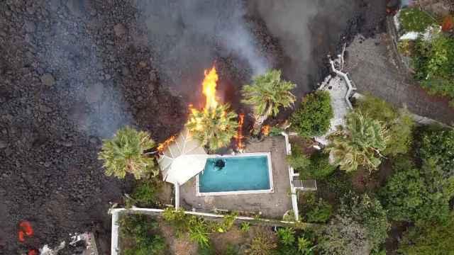 Imagen aérea de la lava del volcán Cumbre Vieja, en La Palma.
