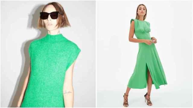 Modelo vestida de Zara, a la derecha y modelo vestida de Claro, a la izquierda.
