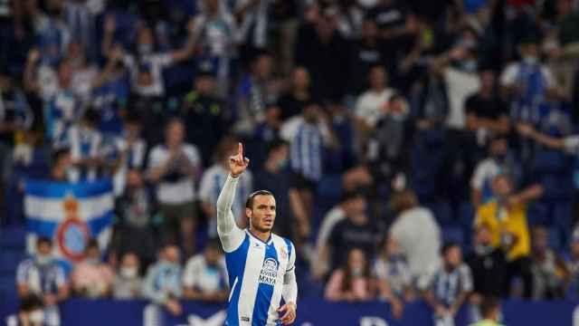 Raúl de Tomás celebra un gol con el Espanyol