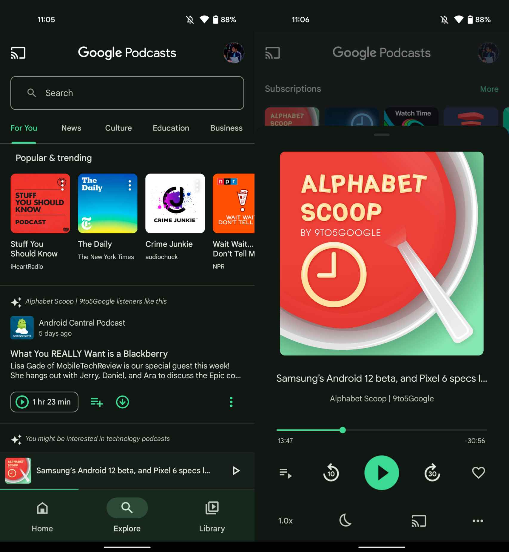 Material You en Google Podcasts