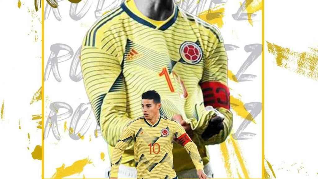 Montaje del Al Rayyan para anunciar el fichaje de James Rodríguez