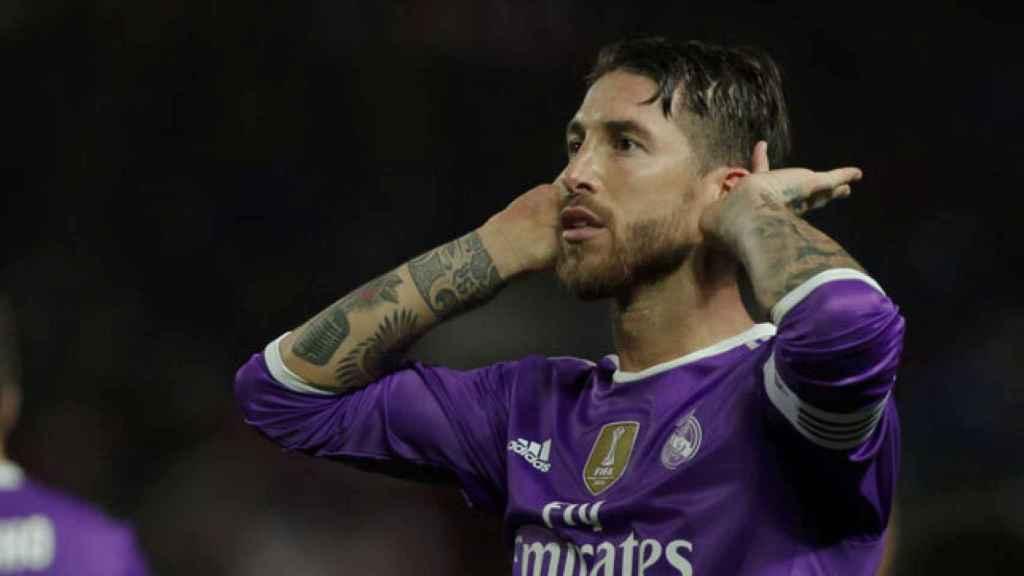 Sergio Ramos, celebrando un gol con el Real Madrid ante el Sevilla
