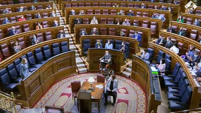 Bancada del Congreso durante la sesión de control al Gobierno de este miércoles.