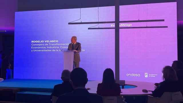 El consejero de Transformación Económica, Rogelio Velasco, durante la presentación de '#eCityMálaga'.
