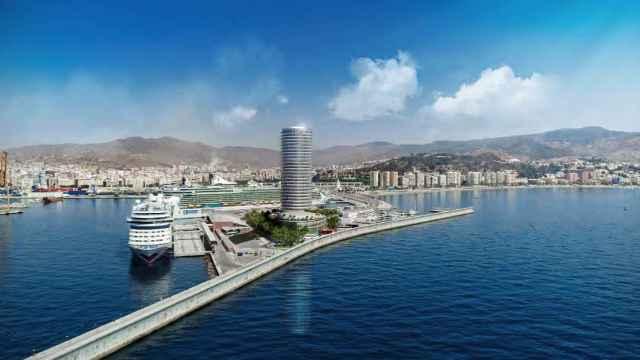 Infografía de la torre del puerto de Málaga.