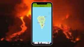 Un iPhone con el volcán de Palma de fondo.