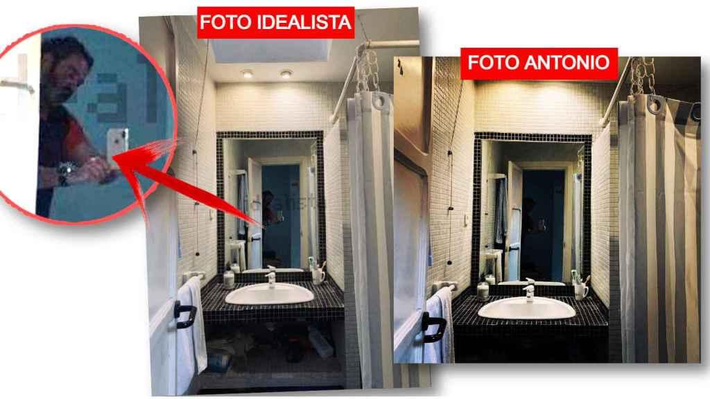 Fotografías del baño del estudio. Imagen de la inmobiliaria comparada con la compartida por Antonio Pardo.