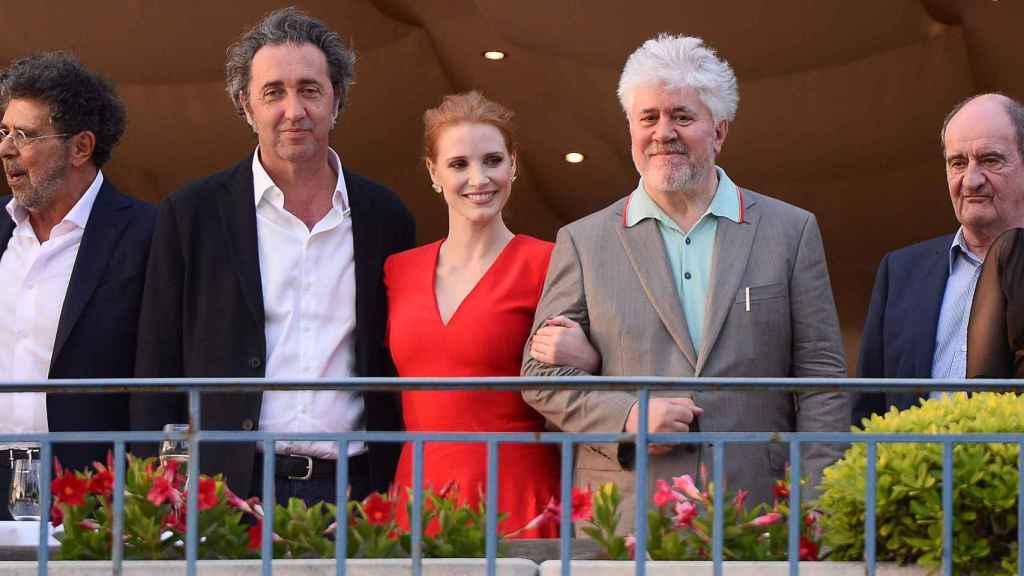 Con Pedro Almodóvar y Jessica Chastain en Cannes.