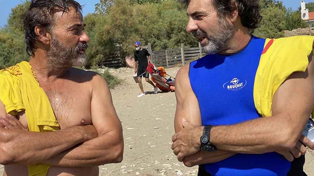 Oscar y Eduard en el rodaje.