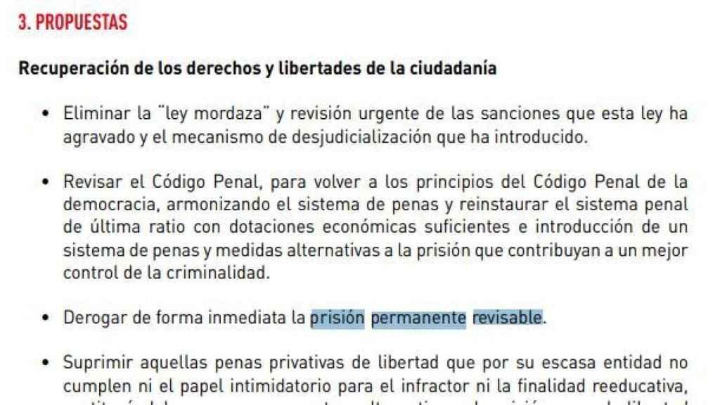 Programa electoral del PSOE de 2016, con el compromiso de derogar la prisión permanente./