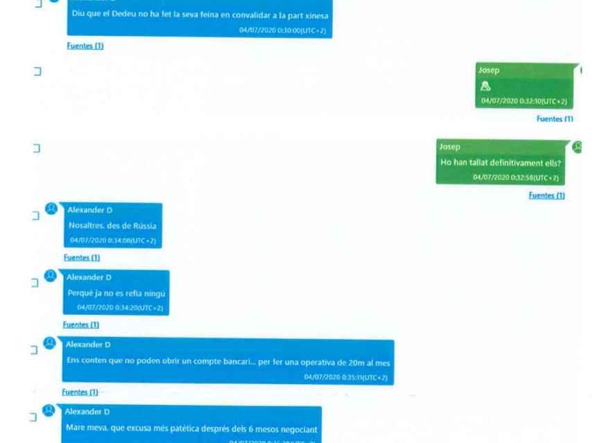 Dmitrenko muestra su malestar ante Josep Alay, en un chat de Telegram el 4 de julio de 2020, porque Joan Dedeu ni ha hecho su trabajo para garantizar los pagos desde China.