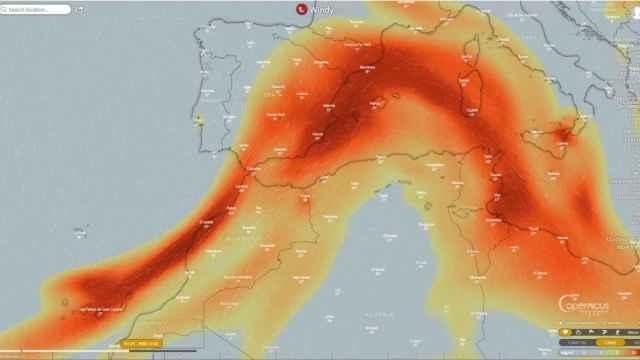 Avance hacia el Mediterráneo del dióxido de azufre que emite el volcán de La Palma. Copernicus EU