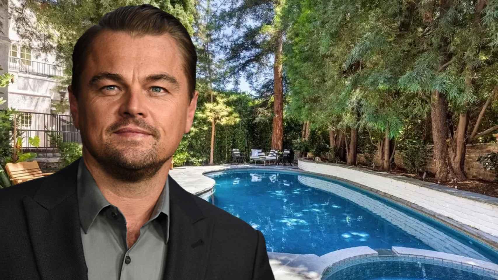 Leonardo DiCaprio junto a la casa que vende en Los Angeles en un montaje de JALEOS.