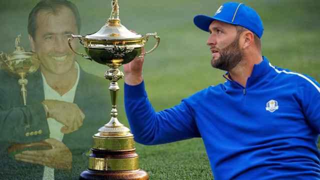 Severiano Ballesteros, el trofeo de la Ryder Cup y Jon Rahm, en un fotomontaje