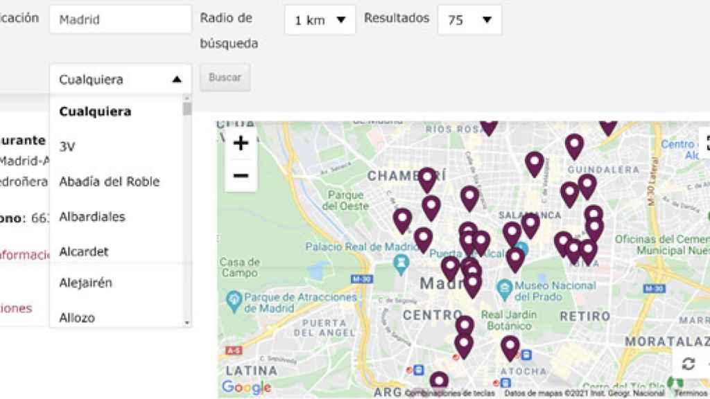 Mapa digital para geolocalizar restaurantes con vinos de la DO La Mancha
