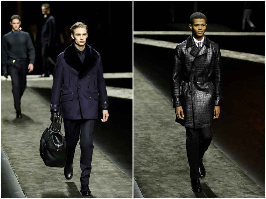 Modelos con chaquetas de piel de Brioni.
