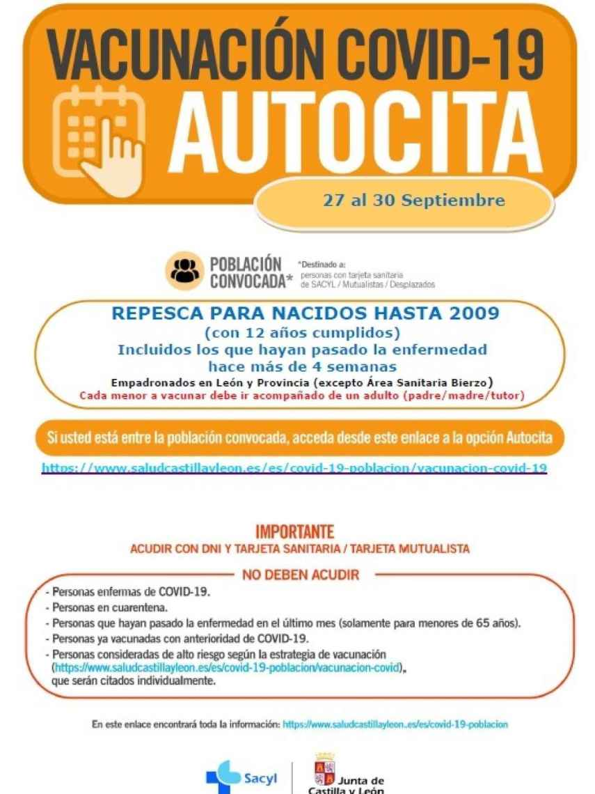 Autocita en León para la vacunación contra la Covid-19