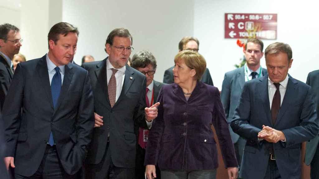 David Cameron, Mariano Rajoy and Angela Merkel at the 2015 summit