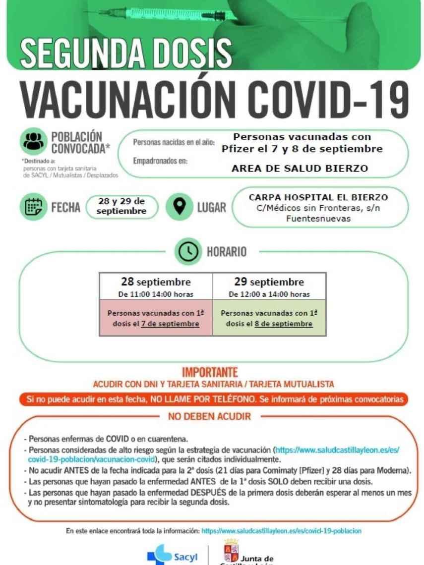 Convocatoria para la vacunación contra la Covid-19 en Ponferrada