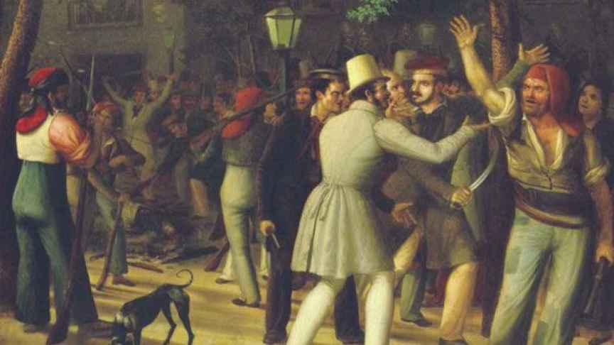 'Acción del populacho barcelonés' (1835) de Antonio Ferrán.
