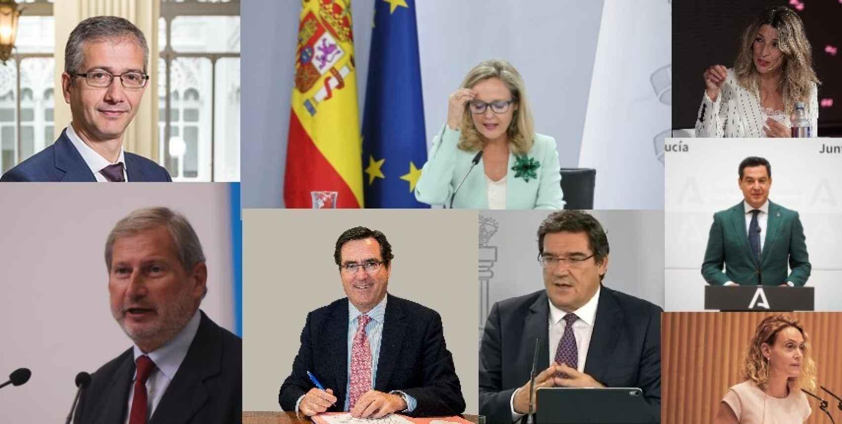Pablo Hernández de Cos, Nadia Calviño, Yolanda Díaz, Johannes Hahn, Antonio Garamendi, José Luis Escrivá, Juanma Moreno y Meritxell Batet.