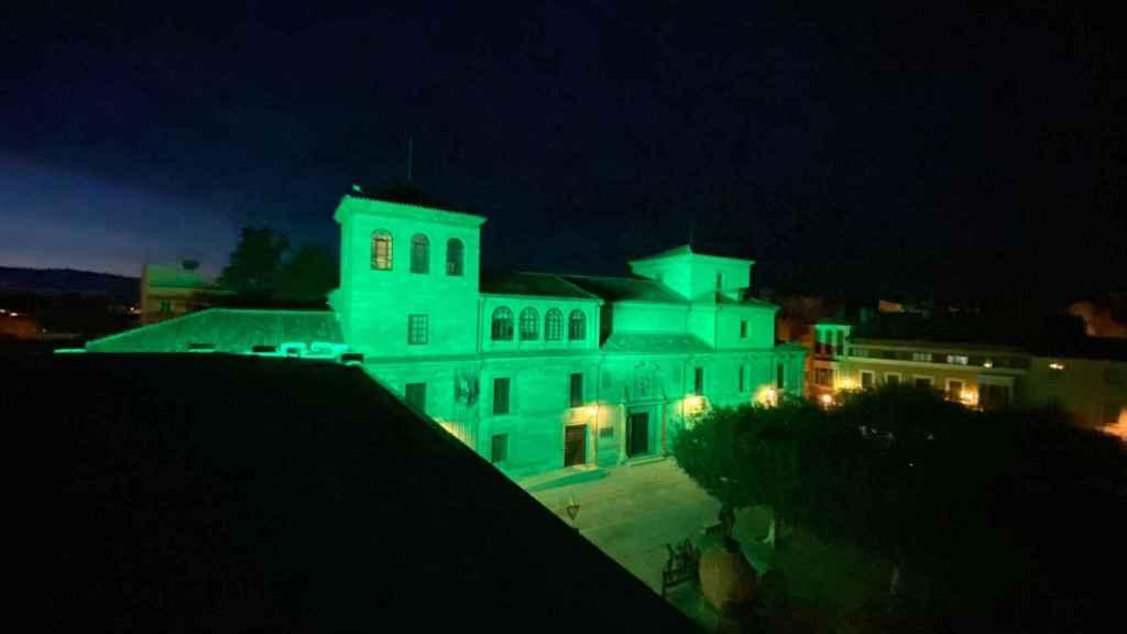 El edificio de la Diputación de Zamora se ilumina de verde por los 'otros ángeles verdes'