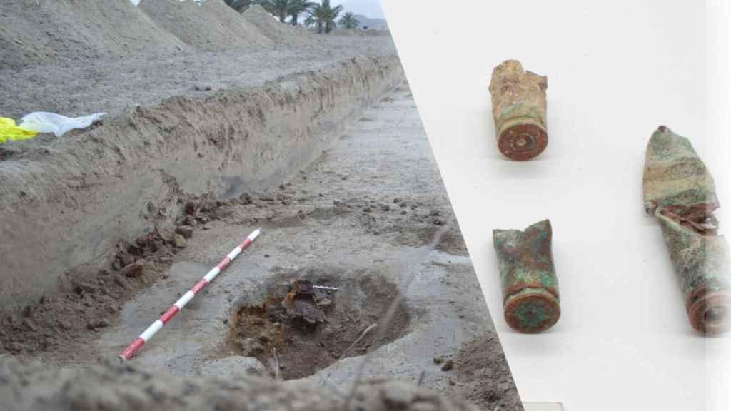 Composición de una imagen de munición del fusil Mauser percutida con la excavación de un deposito de latas de sardina, la única dieta posible para los prisioneros.