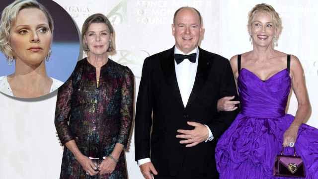 Alberto de Mónaco, en el centro, junto a su hermana, Carolina, y la actriz Sharon Stone; y Charléne, en un montaje de Jaleos.