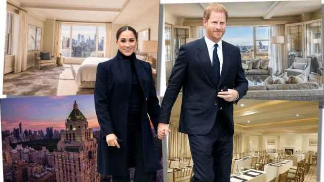 Harry y Meghan, junto a varias estancias del hotel The Carlyle (Nueva York), en un montaje de Jaleos.