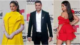 Rosalía, Carlos Rivera y Camila Cabello en la alfombra roja de los Billboard Latin Music Awards.