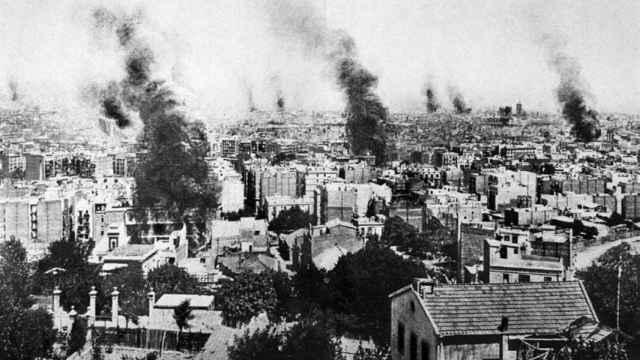 Barcelona en 1909 durante la Semana Trágica.
