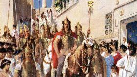 Ilustración de Alarico en Atenas.
