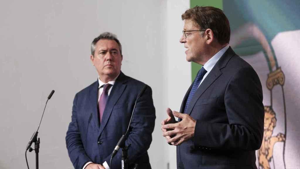 Juan Espadas, durante el acto que compartió, por la tarde, con Ximo Puig.