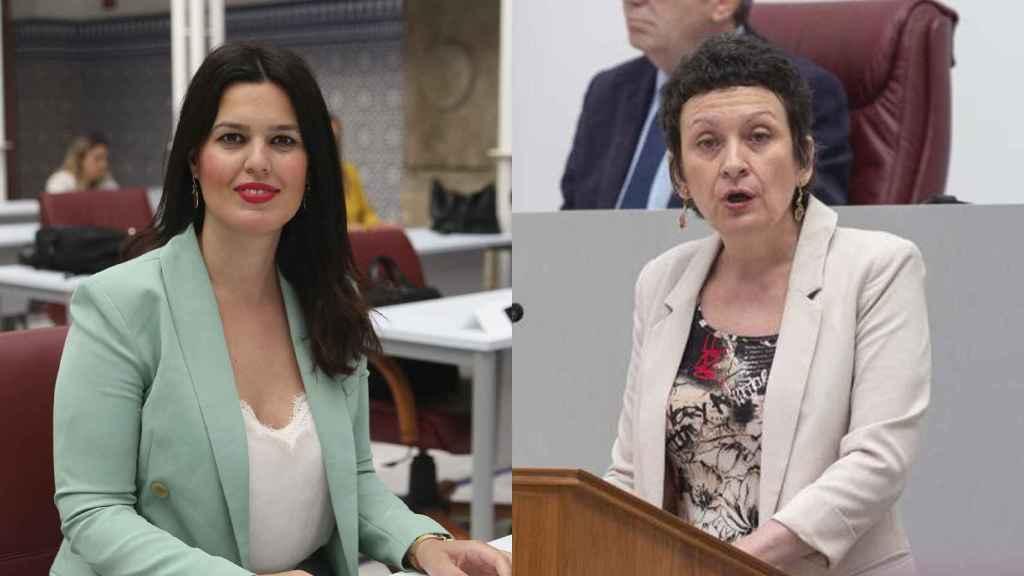 La portavoz del PP, Miriam Guardiola, y la portavoz de Podemos, María Marín.