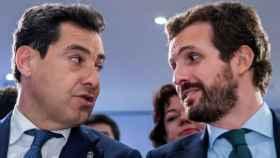 El presidente andaluz, Juanma Moreno, y el presidente del PP, Pablo Casado.
