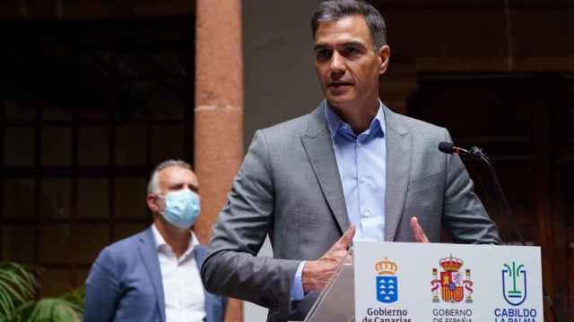El presidente del Gobierno, Pedro Sánchez, comparece este viernes desde La Palma. Efe