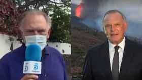 El periodista Pedro Piqueras durante su cobertura de la erupción en la Palma.