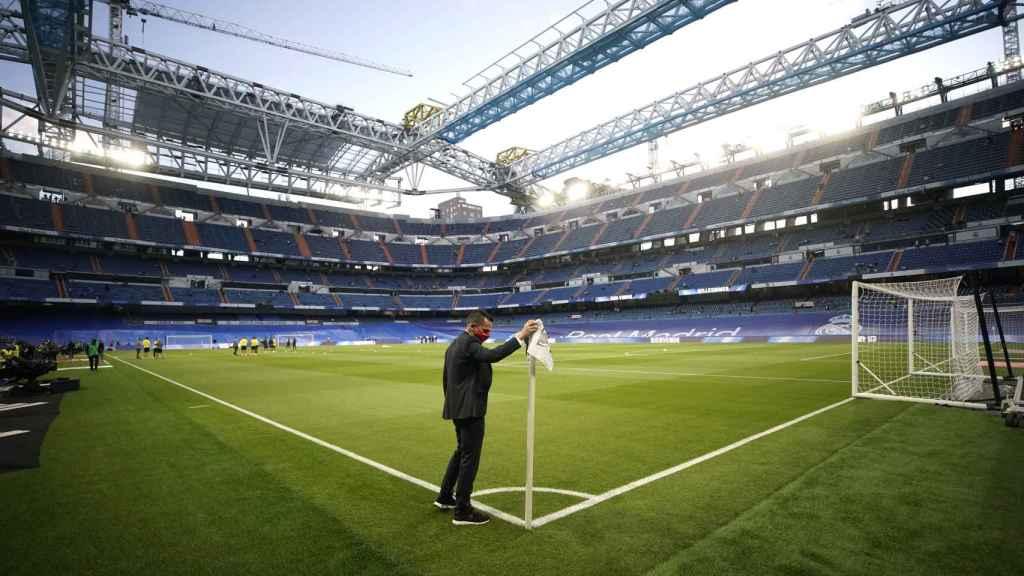 El Estadio Santiago Bernabéu, en la previa del partido Real Madrid - Villarreal