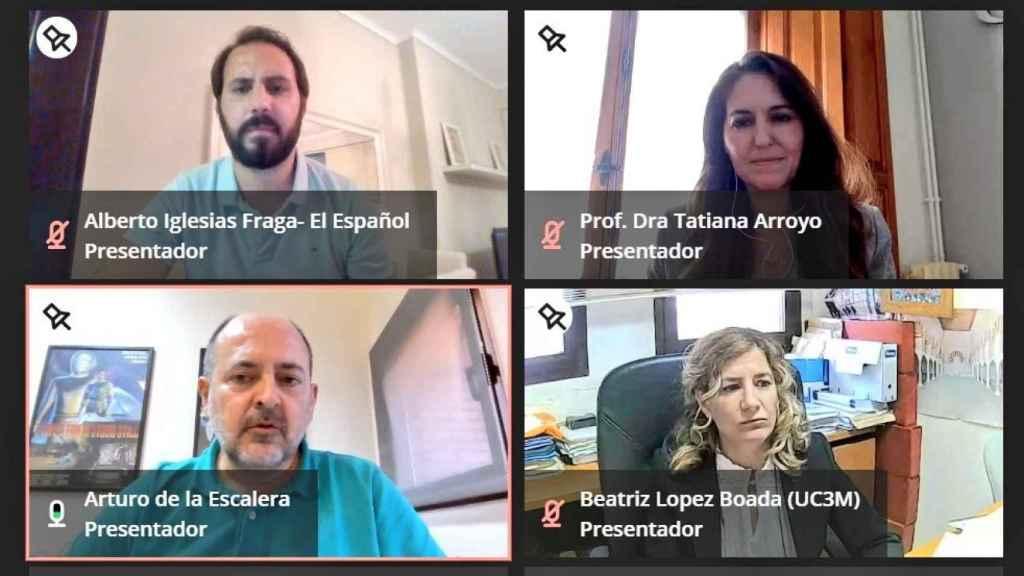 Un momento del encuentro organizado por la UC3M sobre movilidad multimodal, con los investigadores Beatriz López,  Tatiana Arroyo y Arturo de la Escalera.