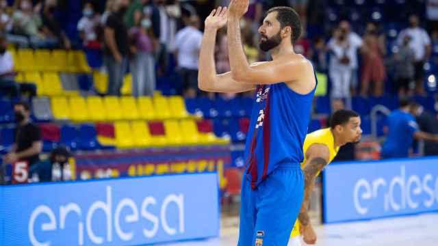 Nikola Mirotic, en un partido del Barça