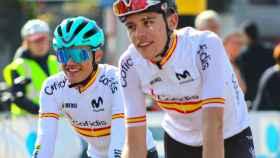Alex Aranburu y Carlos Rodríguez, en el Mundial de Ciclismo de Flandes 2021