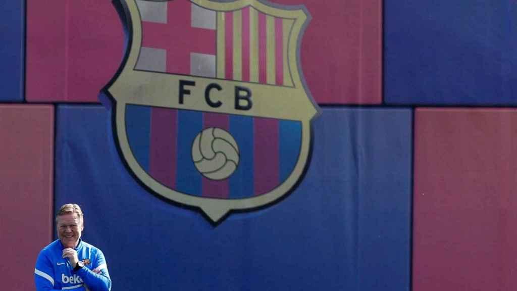 Ronald Koeman, en un entrenamiento del Barcelona