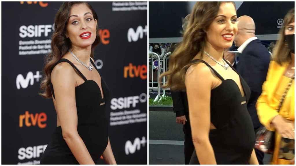 Hiba Abouk no ha querido esconder su incipiente barriguita de embaraza en el Festival de San Sebastián.